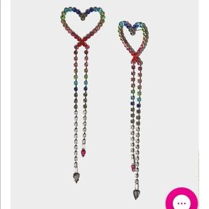 Bling Thing Heart Linear Earrings Rainbow 🌈 Multi